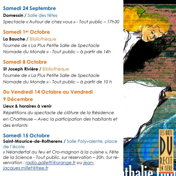 programme-octobre-2016 de la Cie Nathalie Thomas